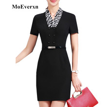 Scarf V-neck Collar Women Pencil Dress Short Sleeve Elegant Party Dresses Summer Robe Femme Work Wear Clothing(China)