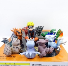 11pcs Naruto Figurine set toy Action Figure Uzumaki Naruto and Tailed Beasts Kyuubi Hachimata Scene Figura Model for girls boys(China)