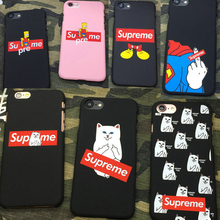 Supreme Simpson Mickey Mouse Superman cat Finger matte Hard PC Phone Cases For iPhone 5 5s se 6 6s Plus 7 7Plus Coque Cover case