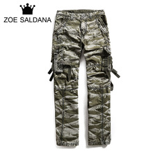 Zoe Saldana Men's Cargo Pants 2017 New Arrival Men Camouflage Military Pants Multifunctional Pockets Tooling Trousers(China)
