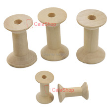 20 Pcs / Lot Wooden Empty Thread Spools log manual Natural Cylinder Craft Round Ribbons lace