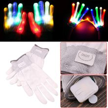 LED Flashing Rave Gloves Finger Lighting Magic Mittens for men and women Inside the Glove Drawer Comes with Shedding(China)