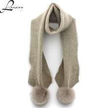 Lanxxy Real Fox Fur Pompom Scarf Women Winter Long Shawls Scarves Knitted Wool Scarf