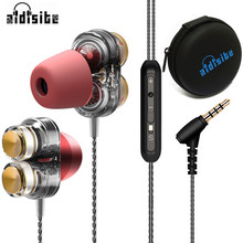 Aidisibe Heavy Bass Earphone Hifi Dual Driver gaming Headset with Mic Earpiece Mp3 Sport fone de ouvido noise reduction Earbuds(China)