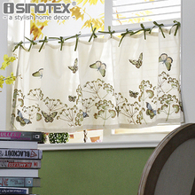 Decorative Kitchen Curtain Fine Butterfly Embroidered Pastoral Small Cafe Curtain For the Kitchen Livingroom Home Decoration(China)