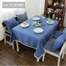 Navy Wind Linen Cotton Striped Table Cloth Oversize 140*220 Picnic Party Tablecloth Dustproof Coffee Table Cover Oil Cloth Decor(China)