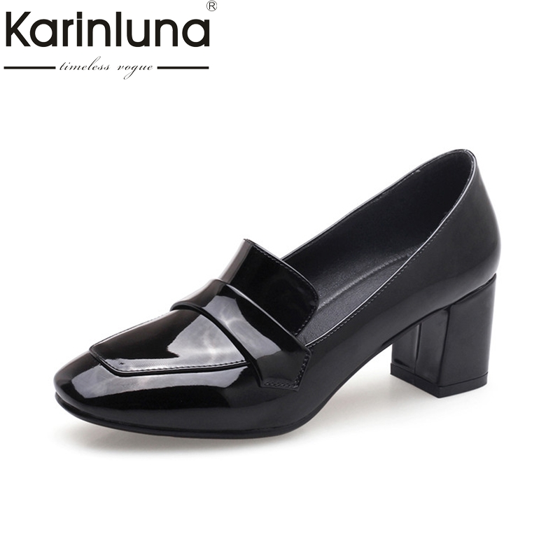 KarinLuna Womens Chunky High Heel Official Shoes Woman Quality Patent Leather Red Black Pumps Big Size 33-43<br>