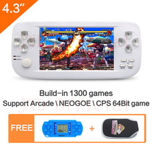 4.3 inch 64Bit build in 1300 no-repeat game Handheld Video Game Console for NEOGOE\CPS\GBA\GBC\GB\SFC\FC\MD\GG\SMS MP3/4(China)
