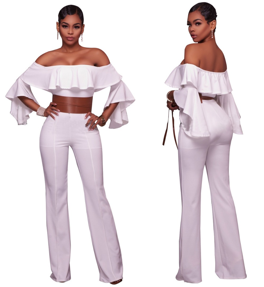 NEW NEW Women Rompers Jumpsuits Sexy Women Strapless Ruffles Bodycon Jumpsuit Batwing Sleeve Off Shoulder Sashes Overalls