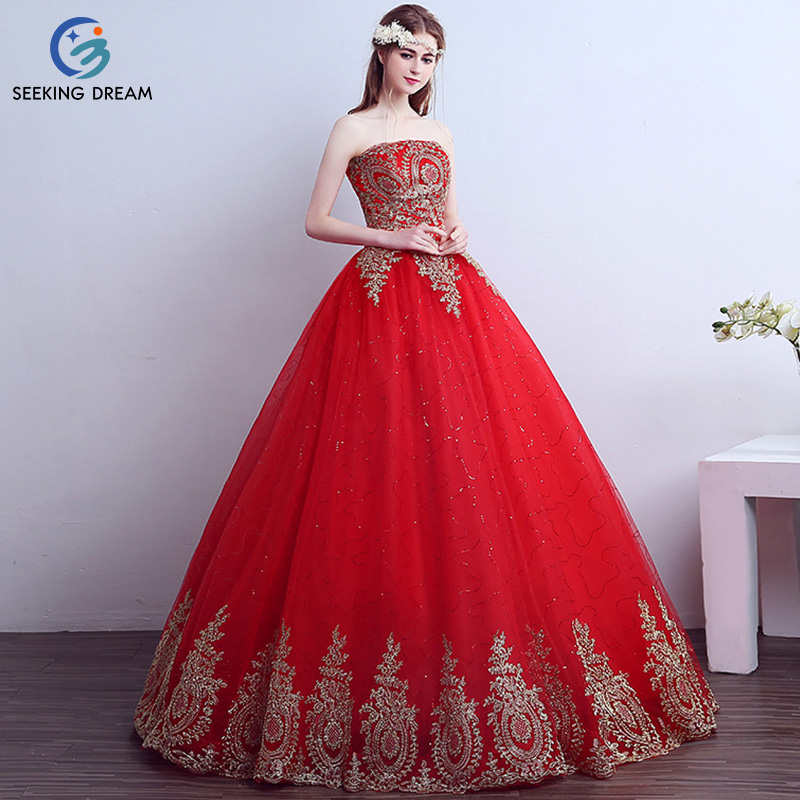 2017 Fashion Red Ball Gown Dress Train Bride Strapless Cheap Wedding Dresses Long Tailing Gold Lace Up Elegant Plus Size AS023(China)