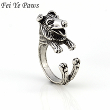 Fei Ye Paws Vintage Rough Collie Dog Ring Anel Boho Border Collie Rings For Women Men Jewelry Best Friend Australian Shepherd(China)