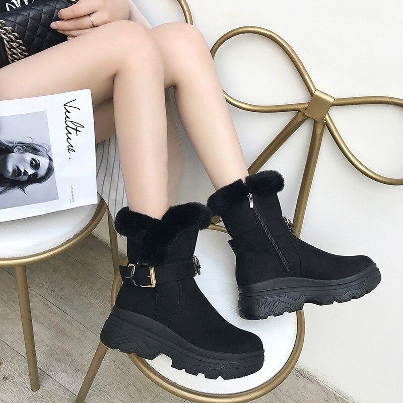 SWYIVY Flock Winter Boots Platform Female 2019 Winter Warm Velvet Fur Female Shoes Casual Side Zipper High Top Snow Boots Shoes