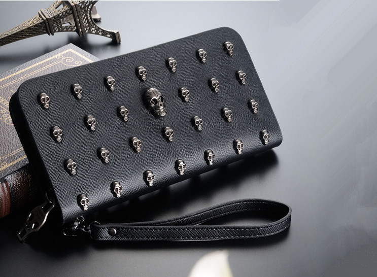The New Retro Punk Skull boy long wallet women wallet<br>