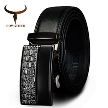 Buy COWATHER men's fashion100% Genuine Leather belts men High metal automatic buckle Strap male Jeans cowboy free shippi for $11.99 in AliExpress store
