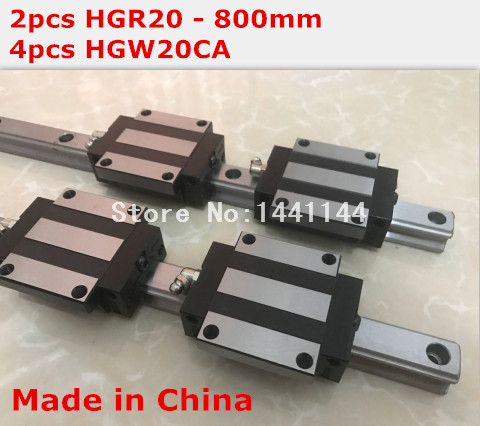 HG linear guide 2pcs HGR20 - 800mm + 4pcs HGW20CA linear block carriage CNC parts<br>
