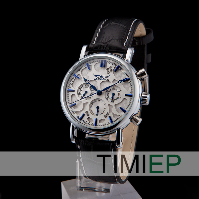 New Luxury Mens Watches Mechanical Automatic Blue Marker Dress Style Leather Wrist Watch Gift<br>