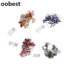 oobest 3m 20 LED Colorful Butterfly Battery Box Optic Fiber String Lights Christmas Festival Decorative Lights Fairy Lamps(China)