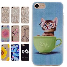 for iPhone 7 6 6s 7 Plus 5 5s SE Cartoon Case Back Cover Lovely Cat  Flower Soft Skin fashion phone cases for iPod Touch 5