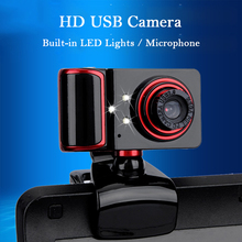 Hot Sale USB 2.0 Webcam HD Manual focus Free Drive Web Camera Built-in 3 LED Night Light and Microphone For PC Laptop Video call