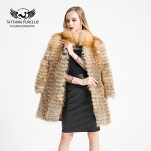 100% Real Red Fox Fur Coat, Length 85 Sleeve Length 55,Stand Collar Fox Fur Overcoat,Lady Winter Overcoat Free Shipping,BF-C0301