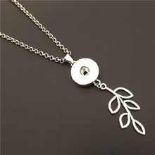 Fashion Twig Leaf Metal 18mm Snap Buttons Pendant Necklace With 50cm Link Chain(China)