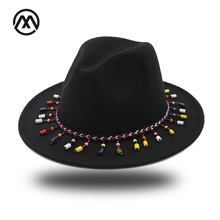 Woolen Felt Fedoras Winter Autumn Women Ladies Tassel Cowboy hat Top Jazz Hat Fashion Bowler Hats Hard Cotton Round Sombrero Cap(China)