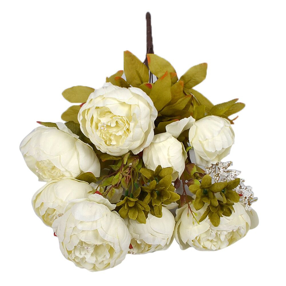 hot sale bouquet 8 heads artificial peony silk flower leaf home wedding party decor white