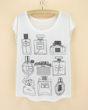 perfume bottle summer short sleeve girl tops tee shirts white round collar thin summer fashion women clothes 2015