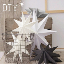 New 1Pcs 30cm 6'' Nine Angles Paper Star Decoration Tissue Paper Star Lantern Hanging Stars For Christmas Party Decoration