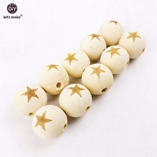 Let's Make 40pcs Wooden Star Toy Beads DIY Necklace/Bracelet Decorative Fitting Teething Accessory Baby Toys DIY Crafts(China)