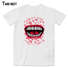 TANGNEST Men Funny Short T shirts New Man's Summer Short Sleeve HAHA Red Lip and Mouth Print Tee Soft Casual Pop Tshirt MTS2226