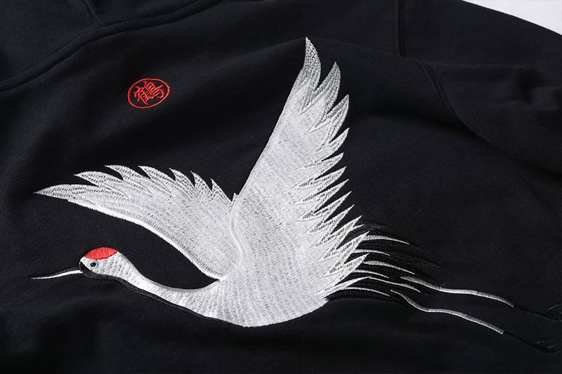 Embroidery Japanese Crane Hoodies 7
