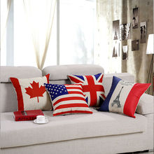 Fashion element usa uk france canada flag series 1pcs 45*45cm/17.7*17.7'' cushion cover for Sofa Seat linen/cotton Home Decor