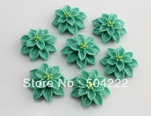 100pcs Green Resin Flower Chic Spring Jewelry floral Cabochons Flat Back 26mm cameo covers- Bobby Pins,Pendants