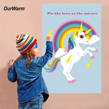 OurWarm Pin The Horn On The Unicorn Fun Kids Birthday Party Favors Home Games Rainbow Unicorn Decoration Festive Party Supplies(China)