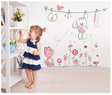 Pink Cartoon Cat Rabbit Flower Wall Sticker For Baby Girls Kids Rooms Home Decor Teddy Bear Umbrella Classroom Wall Decals(China)