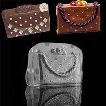 Luxury Purse Cake mold DIY Polycarbonate Luxury Purse 3D Chocolate Mould Lady's Bag Suger Craft Fondant Cake(China)