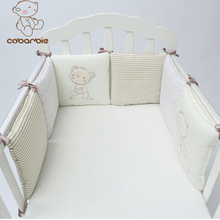 1-14PCS/LOT Infant Crib Bumper Bed Protector Baby Kids Cotton Cot Nursery bedding plush bear bumper for boy and girl(China)