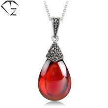 GZ S925 Solid Silver MARCASITE Garnet Pendants 100% Real Pure 925 Sterling Silver Pendant Necklaces for Women's Day Gift LP04