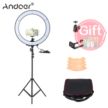 RU Stock Andoer LA-650D 5500K 40W 600 LED Ring Light Kit Photographic Lighting Phone/Video Photography Ring Lamp with Tripod(China)