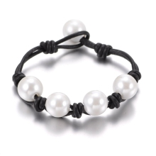 New Arrivals Hot sale Pearl Leather bracelet many styles Imitation Pearl Handmade leather cord SZ0371e(China)