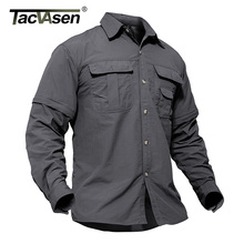 TACVASEN Men's Army Military Shirt Men Removable Quick Dry Tactical Shirt Autumn Summer Long Sleeve Shirts Plus Size TD-SMMD-001(China)