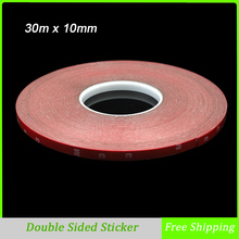 30m x 10mm Double Sided Tape Acrylic Foam Adhesive, Car Interior Exterior Accessories Tape Sticker Free Shipping(China)