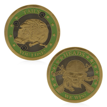 Heads We Win Tails You Lose Skull Gold Plated Commemorative Challenge Coins Art APR26
