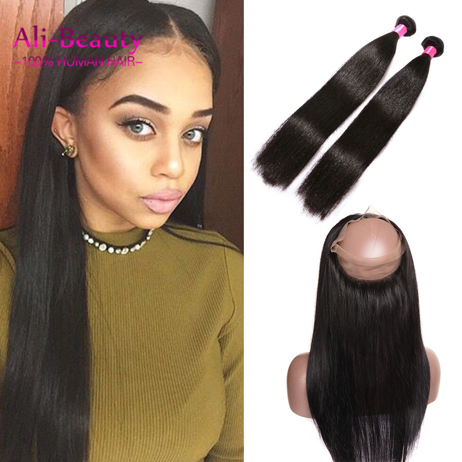 360 Frontal With Bundles Straight With Baby Hair Virgin Peruvian Hair With Frontal Closures Straight 2 Bundle 360 Lace Frontal<br><br>Aliexpress