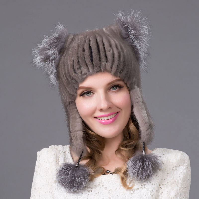 Women's leather mink fur hat with fur ball autumn and winter cute fox fur cat ears style hat 2018 latest girls new hat