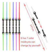 NEW 2pcs/lot scalable Lightsaber Led Flashing 7 colors Star Wars Sword Toys Cosplay Mutual percussion Sabers for boys Action