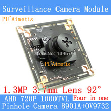 "PU`Aimetis Button 3.7mm Lens Mini Pinhole camera HD 1/4 ""CMOS image sensor 1000TVL AHD 4in1 CCTV night vision camera module(China)"