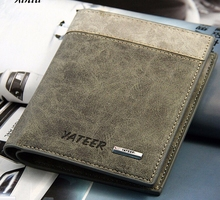 Hot Sale Men Wallets Bifold Men's Leather Wallet ID Business Credit Card Holder Clutch Purse High Quality Money Purse For Man(China)