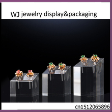 3pcs/set Clear Acrylic Earrings Studs Stands Solid Block Holder Ear Stud Jewelry Display Case for Jewelry Shop Counter Showcase